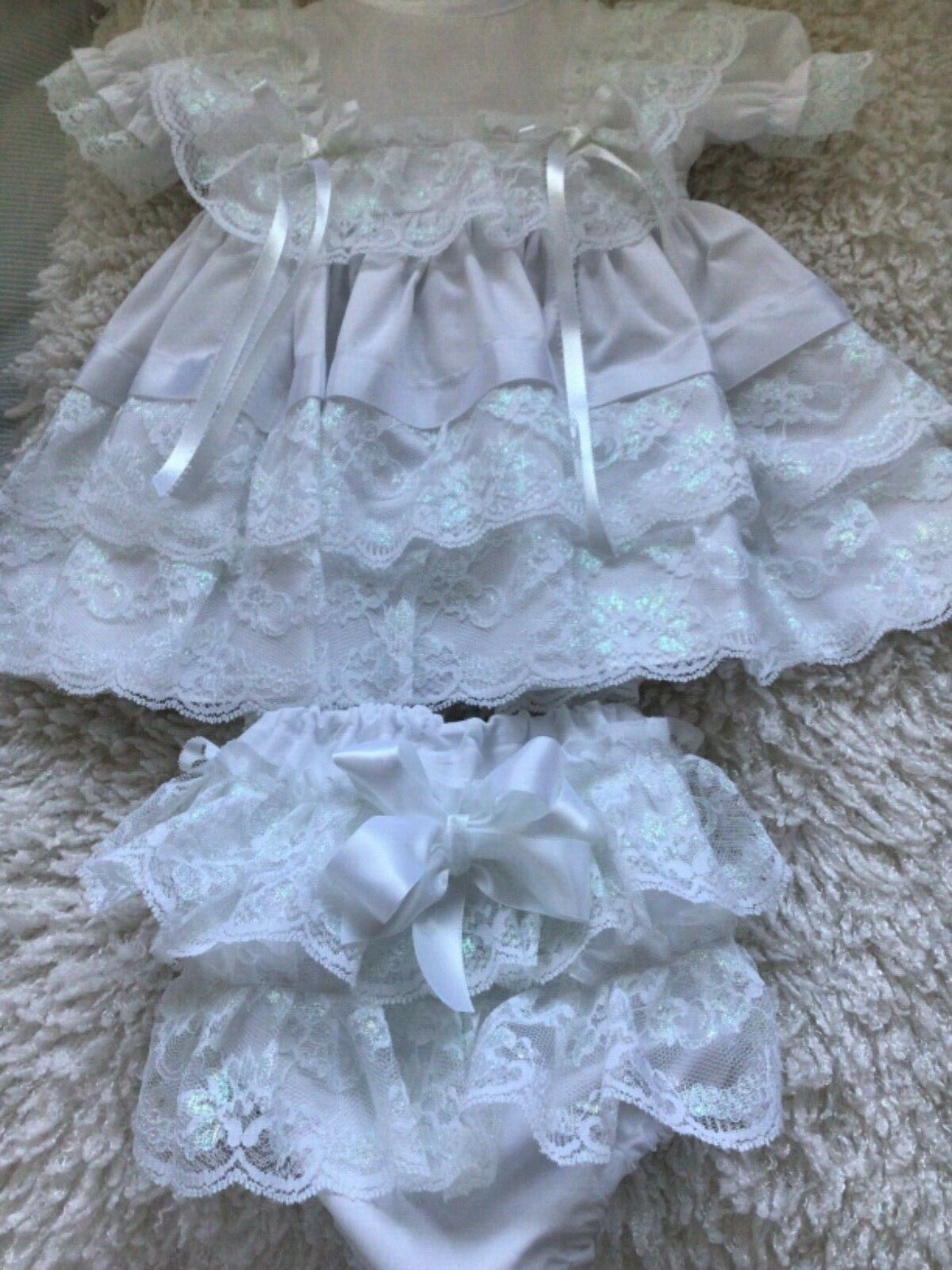 """HANDMADE BABY 3-6MTHS or Reborn 22"""" COTTON DRESS WHITE with mother of Pearl lace"""