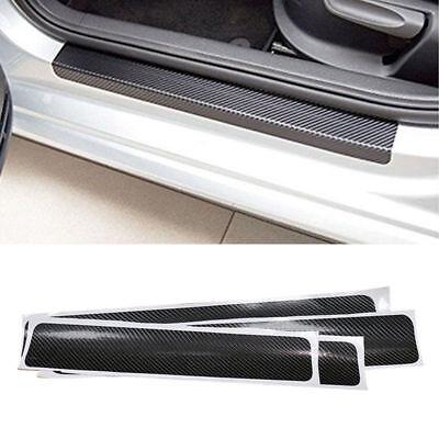 4x 5D Carbon Fiber Look Car Door Plate Sill Scuff Cover Panel Protector Blue HST