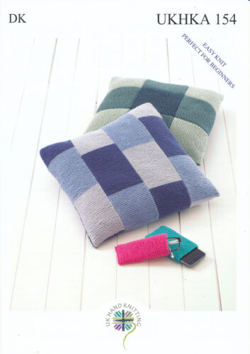 Doble Tejer patrón fácil de punto Cushion Covers Gafas /& Mobile Case UKHKA 154