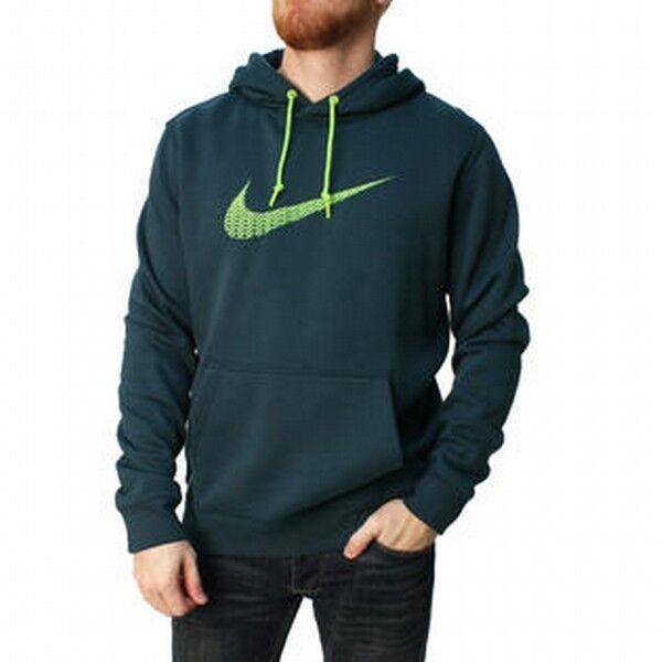 Neu Nike Herren Club Flc Flc Flc Rauschen Dunkel Smaragd Grün Logo Kapuzenpullover f02a9d