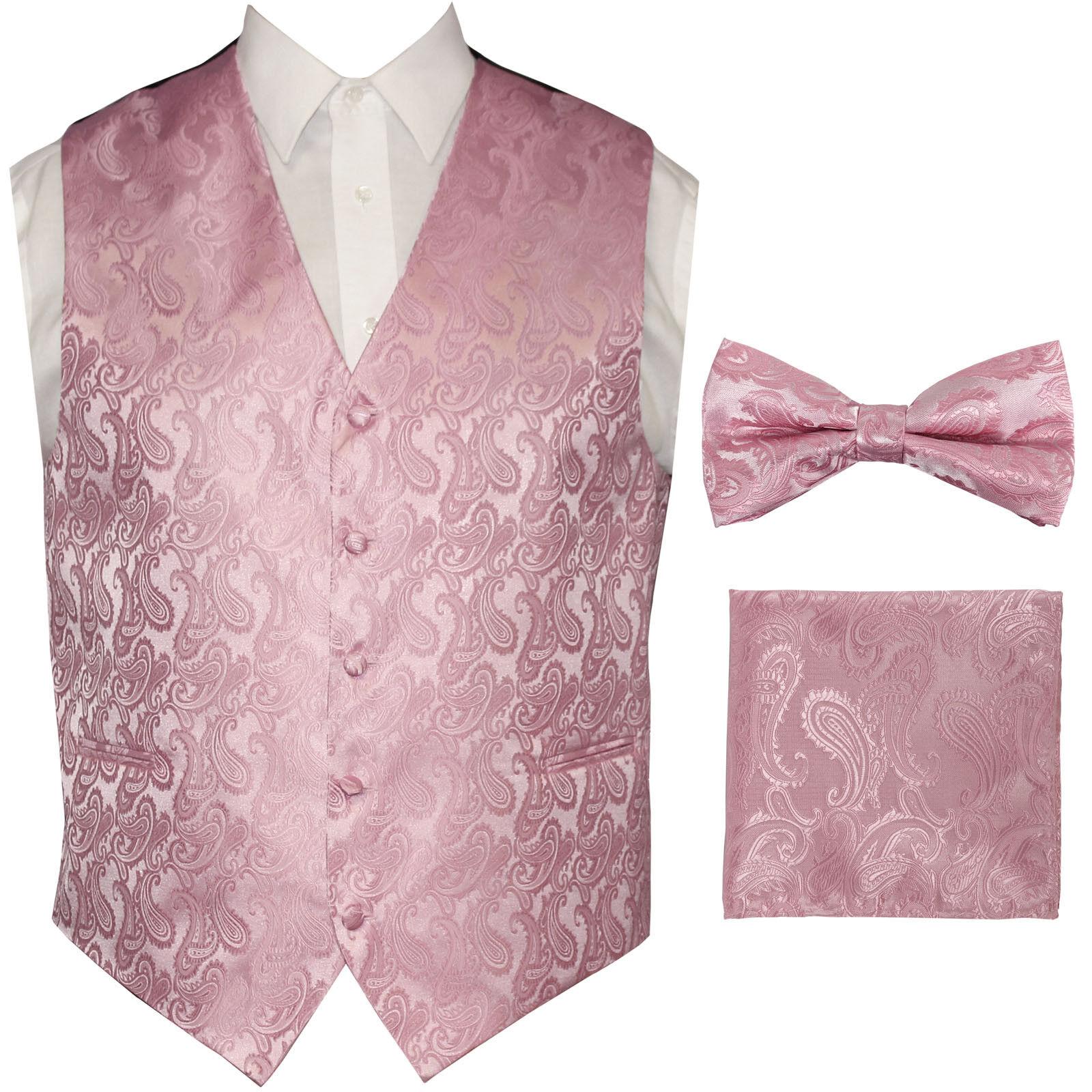 Light Pink Paisley Tuxedo Suit Dress Vest Waistcoat Bow tie Hankie Wedding Prom