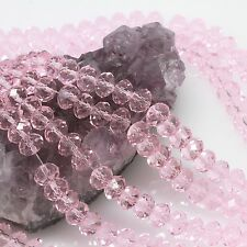 72 PCS 8mm Chinese Crystal Glass Beads Faceted Rondelle Pink Quartz