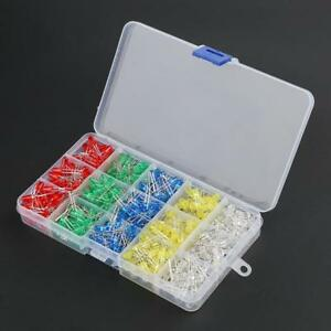 Active Components 500pcs 5mm Led Diode Light Assorted Kit Diy Leds Set White Yellow Red Green Blue Diodes