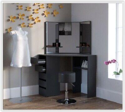 Black Corner Dressing Table Woman Make Up Unit Vanity