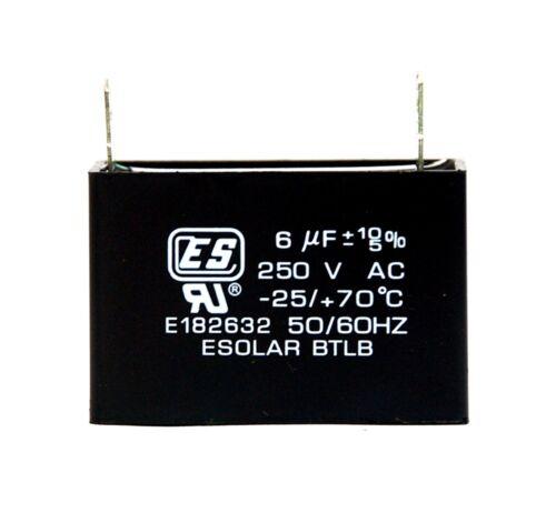 10//-5/% 25//+70℃ ES Esolar UL Taiwan 2pc AC Start Capacitor 6uF 250VAC
