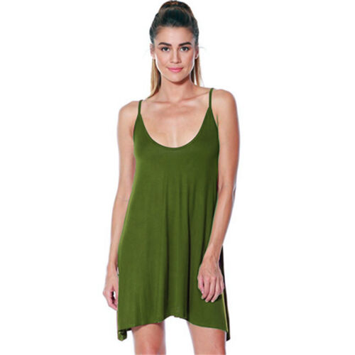 LADIES PLAIN SLEEVELESS STRAPPY SWING CAMI CASUAL VEST MINI DRESS UK 8-16 8502