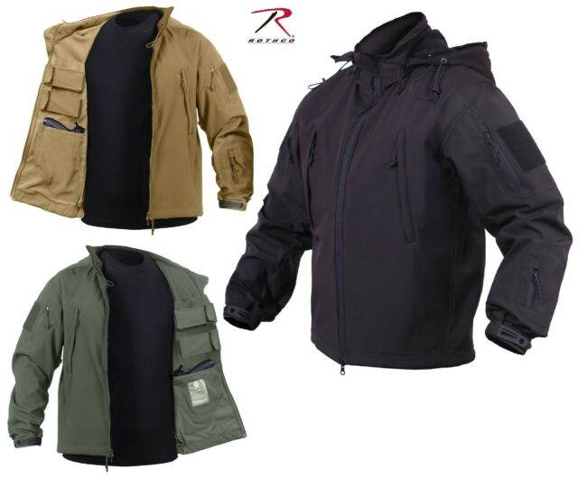 Mens Concealed Carry Soft-Shell Tactical Jacket & 2 Flag Patches Rothco CCW Coat