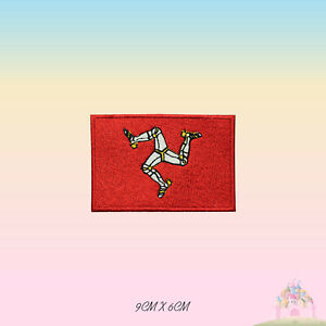ISLE OF MAN UK County Flag Embroidered Iron On Patch Sew On Badge