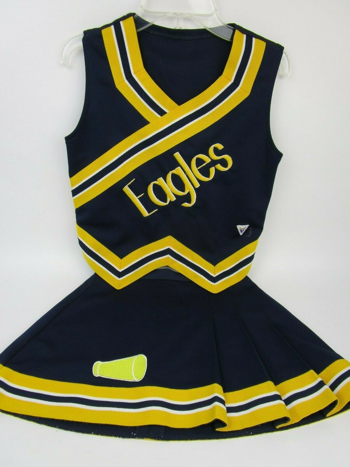 EAGLES Cheerleader Uniform Outfit 34  Top 26 Skirt Youth 2XL Navy blueee gold
