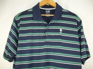 Adidas-Climacool-Mens-Blue-Green-White-Stripe-Golf-Short-Sleeve-Polo-Shirt-L