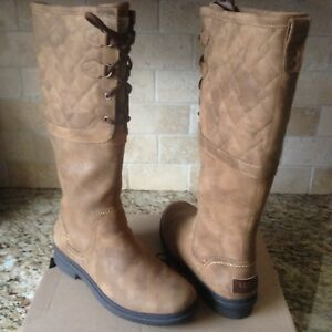 b3e8fabcb4e Details about UGG ELSA DECO QUILTED CHESTNUT TALL WATER-PROOF RAIN SNOW  BOOTS US 5.5 WOMENS