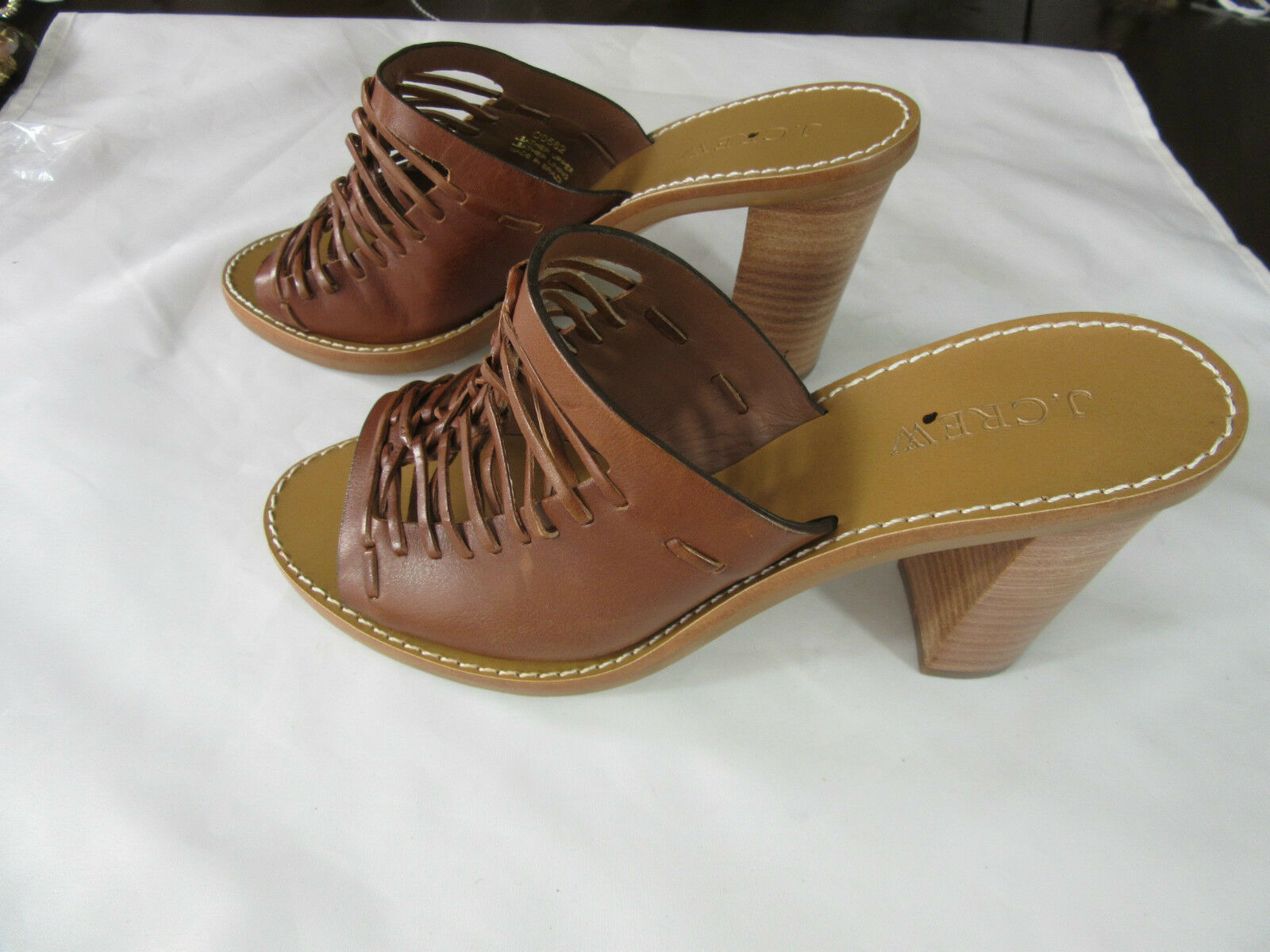 J Crew Huerache Leather Mules Sandals Heels Item  C0562 NWOB Size 5.5 in Brown
