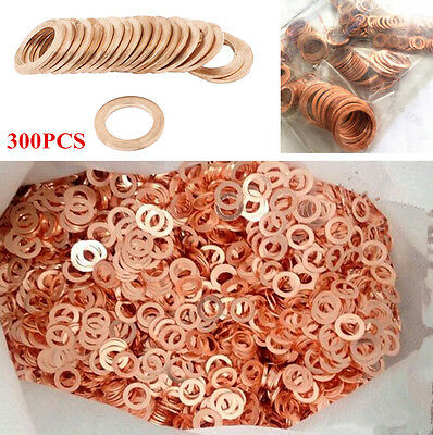 300 Pcs//Set Car//Plant Solid Copper Crush Washers Seal Flat Ring Gasket Universal