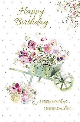 Anniversaire Carte - Joyeux - Brouette de Fleurs - Souhait Bien (A35) | eBay