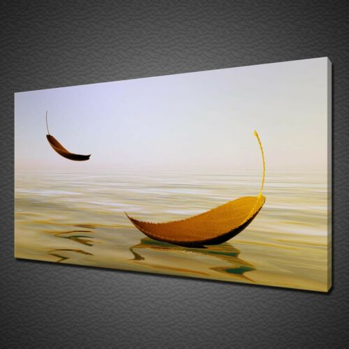 GOLDEN LEAVES ON WATER ABSTRACT WALL ART CANVAS PRINT PICTURE VARIETY OF SIZES