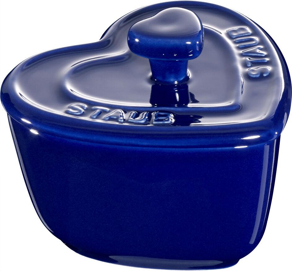 Poussière céramique 6er set xs MINI COCOTTE COEUR dessert bol ramequin bleu foncé