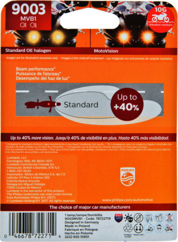 Headlight Bulb-Motovision Single Special Pack Philips 9003MVB1