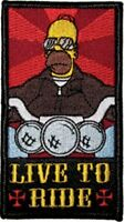 The Simpsons Homer Simpson As A Biker Live To Ride Embroidered Patch, Unused