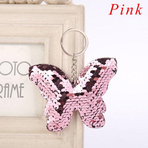 Accessories Butterfly Key Ring Handbag Pendant Holder Glitter Sequins Keychain