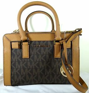 0e8e3e144a48 Michael Michael Kors Dillon Small Brown MK Logo Satchel Crossbody ...