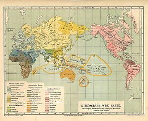 Alte Landkarte 1877 Ethnographische Karte Mittelalter