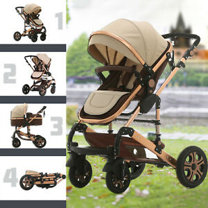 9 in 1 Baby Toddler Stroller Travel Pram 4 Wheels Foldable Pushchair & Bassinet