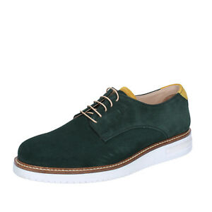 mens shoes FDF SHOES 8 (EU 42) elegant green suede BZ380-C