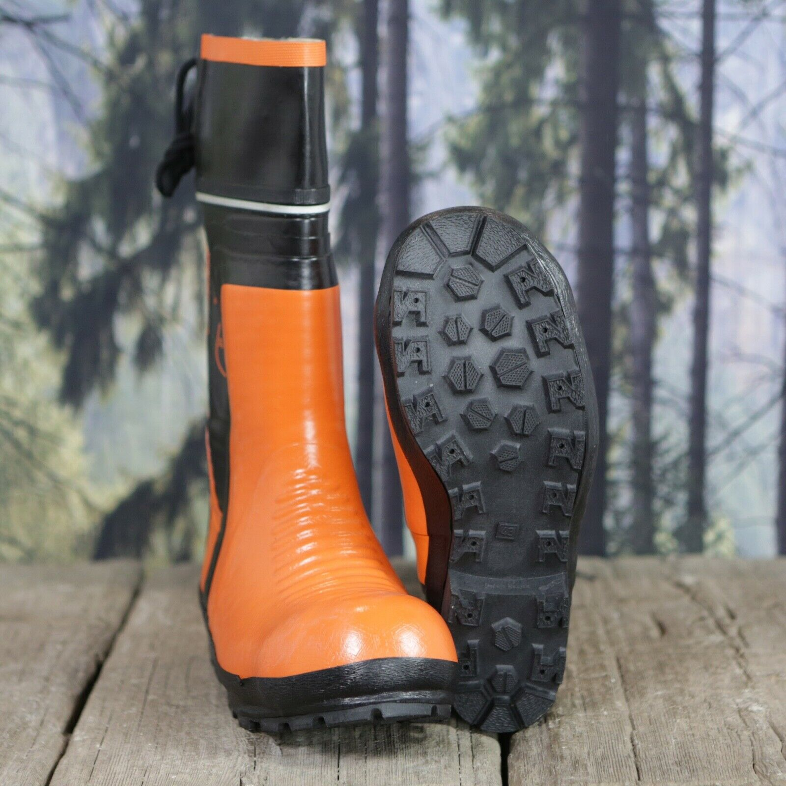 De-Branded Steel Toe Cap Chainsaw Class 3 Wellington Boots EU43 UK9 HKV1782