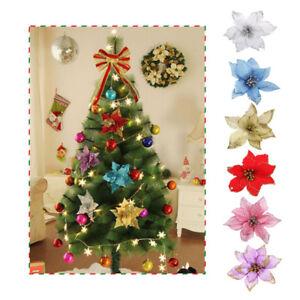 8Pcs-Christmas-Flowers-Glitter-Hollow-Wedding-Party-Decor-Xmas-Tree-Decorations