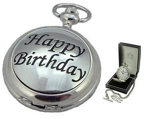 Happy Birthday Mens Quartz Hunter Pocket Watch Superb Uk Made Gift