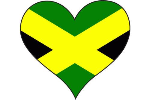 6 x HEART FILLED WITH JAMAICA JAMAICAN FLAG STICKER Car Bumper 10 cm x 10 cm