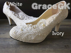 6a23959ef637 Lace white ivory crystal Wedding shoes Bridal flats low high heel ...
