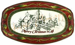 Fitz-and-Floyd-St-Nick-Merry-Christmas-to-All-Holiday-Ceramic-10-5-034-x-6-034-Plate