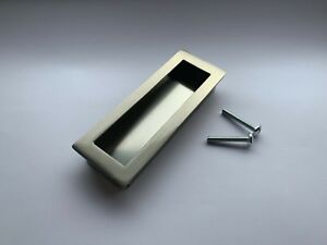 90mm Flush Fit Satin Aluminium Recessed Slide Handle