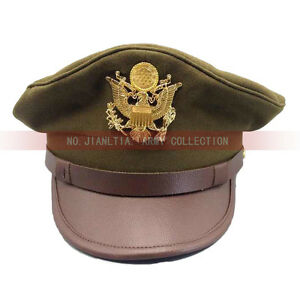 7a46d248620 WW2 US Army Air Corps Officer Crusher Hat Military Cap With Golden ...