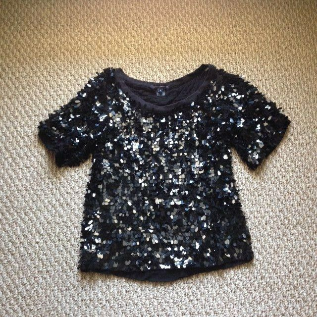 FCUK French Connection Raining Sequins Top Blouse Tshirt XS 0 2 schwarz Beaded