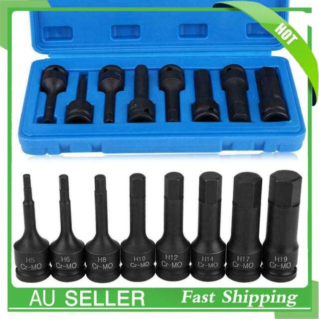 8 pcs 1/2 inch Impact Driver Hex Bit Socket Sizes H5 H6 H8 H10 H12 H14 H17 H19