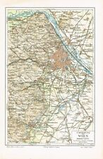 Karte UMGEBUNG von WIEN 1890 Original-Graphik