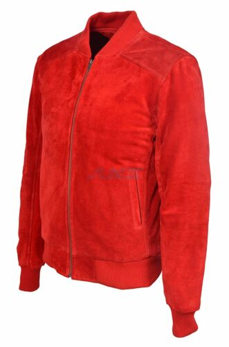 Da Uomo 275 Red Suede Classic Biker Stile Bomber ITALIANO Aderente Giacca in Vera Pelle
