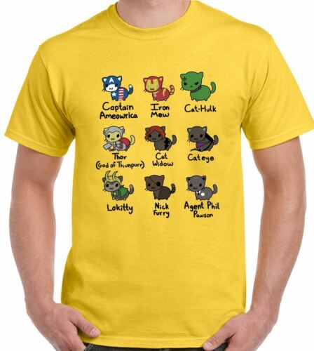 Cat Avengers T-Shirt Mens Funny Thor The Hulk Iron Man Captain America Kitten