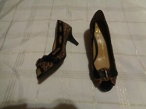 7bbc7ba60e64 isaac mizrahi live patty leopard print open toe heels shoes size 7.5 ...