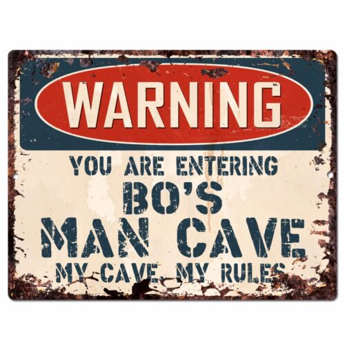 PFMC-1043 WARNING BO/'S MAN CAVE Chic Sign Home man cave Decor Funny Gift
