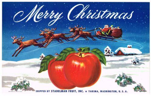 GENUINE VINTAGE APPLE CRATE LABEL C1940S MERRY CHRISTMAS SANTA CLAUS SLEIGH XMAS