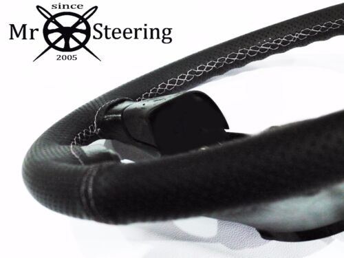 FOR JEEP WRANGLER YJ 86 PERFORATED LEATHER STEERING WHEEL COVER WHITE DOUBLE ST