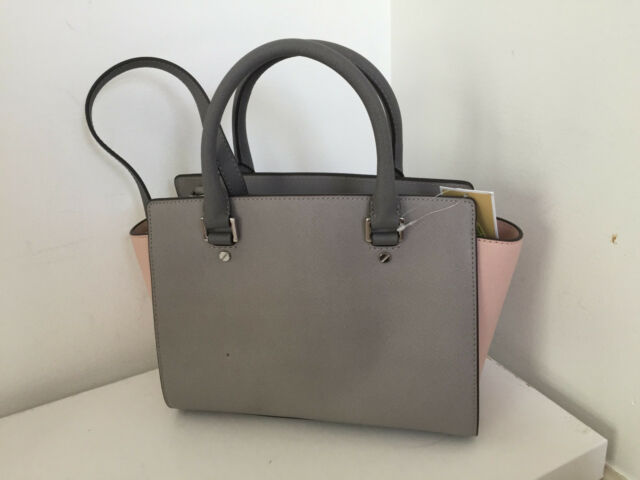 ac198ba10e6b Michael Kors Medium Selma Saffiano Leather Satchel Grey Pink 30f5slms2t