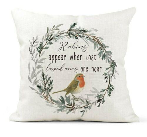 Robins apparaissent lorsque ont perdu des êtres chers Housse De Coussin Cadeau Souvenir Souvenir