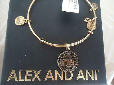 Alex and Ani US NAVY Russian Gold Finish Charm Bangle New W/Tag Card & Box