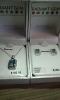 Sterling Silver Jewelry, Lab Blue, Diamond Accent, Nib, Earring & Necklace Set