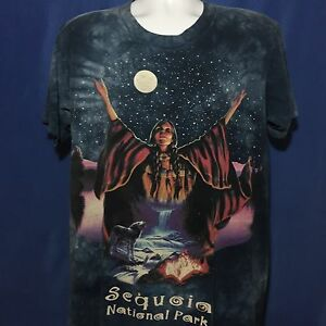VTG 90s Sequoia National Park T Shirt Native American The Mountain Wolf Nature L