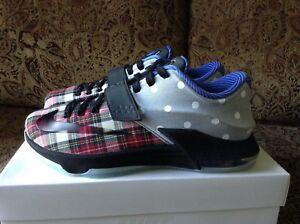 huge discount 07e18 d2d35 Details about Nike KD VII 7 EXT Canvas QS Plaid Polka Dots 726439-600 Size 9